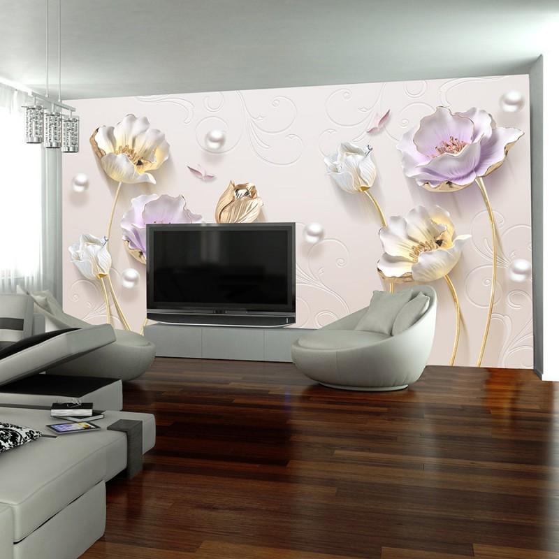 چاپ کاغذ دیواری سفارشی | نمونه گل سه بعدی